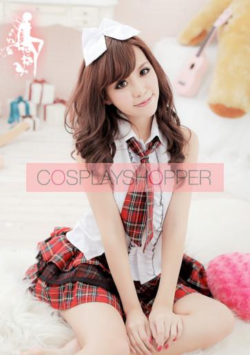 Cute Red Plaid Pattern Short Sleeves School Girl Uniform