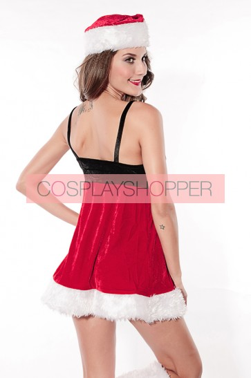 Cute Velvet Santa Strap Girls Christmas Dress