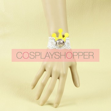 Cute White Lace Button Crown Lady Lolita Wrist Strap