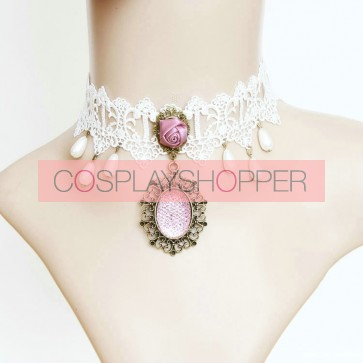 Cute White Lace With Bead Lolita Neckband