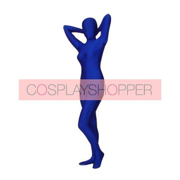 Dark Blue Lycra Spandex Unisex Zentai Suit