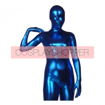 Dark Blue Shiny Metallic Unisex Zentai Suit