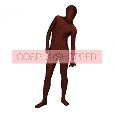 Dark Brown Full-Body Lycra Spandex Unisex Zentai Suit
