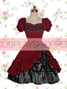 Short Sleeves Dark Red & Black Cotton Classic Gothic Lolita Dress
