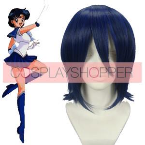 Deep Blue 35cm Sailor Moon Sailor Mercury Mizuno Ami Cosplay Wig