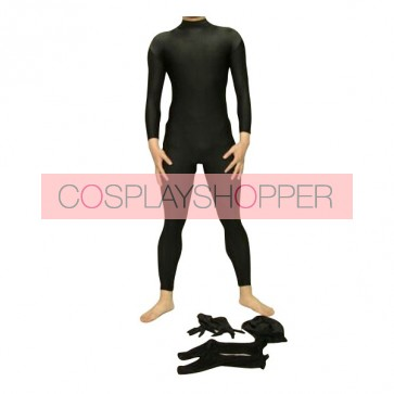Detachable Black Lycra Spandex Unisex Zentai Suit