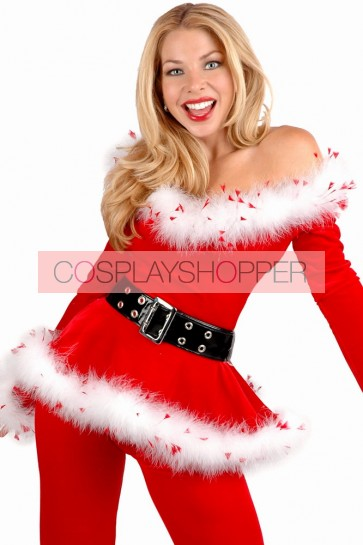 Elegant Santa Lady Christmas Holiday Suit