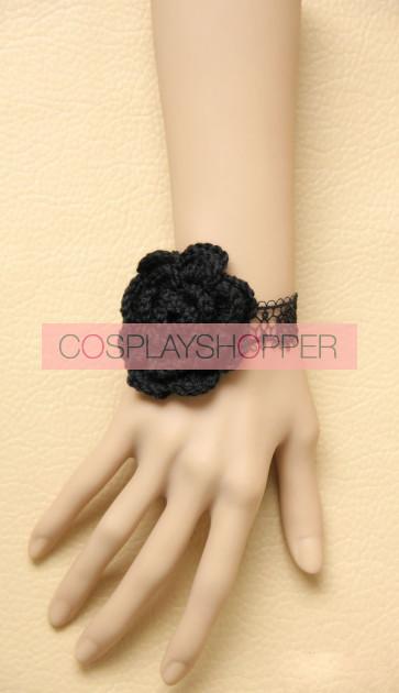 Elegant Black Lace Floral Girls Lolita Wrist Strap