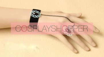 Elegant Black Lady Lolita Bracelet And Ring Set