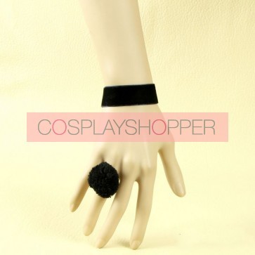 Elegant Concise Black Lady Lolita Bracelet And Ring Set