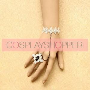 Elegant White Lace Princess Lolita Bracelet And Ring Set
