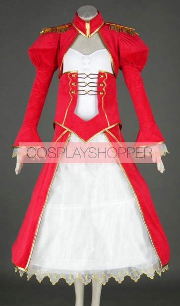 Fate Stay Night Red Saber Swordsman Cosplay Dress