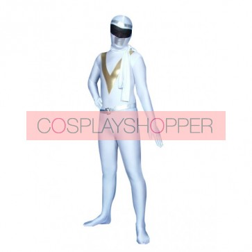 Gold And White Lycra Spandex Unisex Superhero Zentai Suit