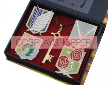 Gold Attack On Titan Breastpin And Necklace Set