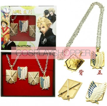 Gold Attack On Titan Cosplay Necklace And Breastpin Set