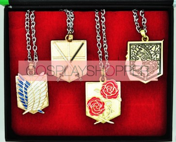 Gold Attack On Titan Necklace Set