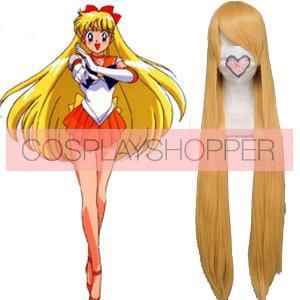 Golden 100cm Sailor Moon Sailor Venus Aino Minako Cosplay Wig
