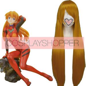 Golden 80cm Neon Genesis EVA Asuka Langley Sohryu Nylon Cosplay Wig
