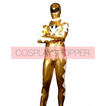 Golden And White PVC Superhero Zentai Suit