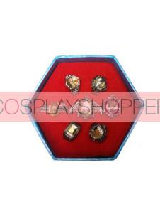 Golden Katekyo Hitman Reborn Cosplay Ring Set