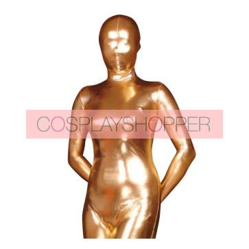 Golden Shiny Metallic Unisex Zentai Suit