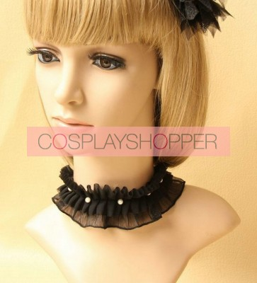 Gorgeous Black Beaded Girls Lolita Necklace