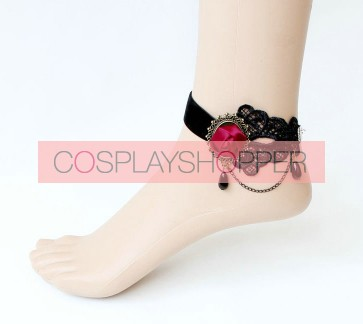 Gothic Black Beaded Floral Lady Lolita Ankle Belt