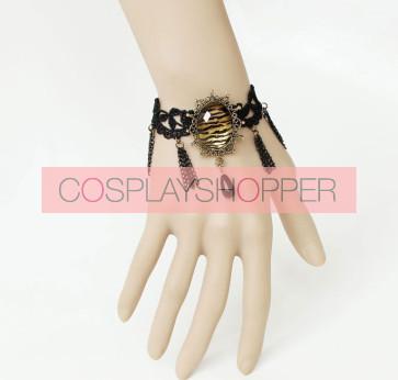 Gothic Black Lace Handmade Lady Lolita Bracelet And Ring Set