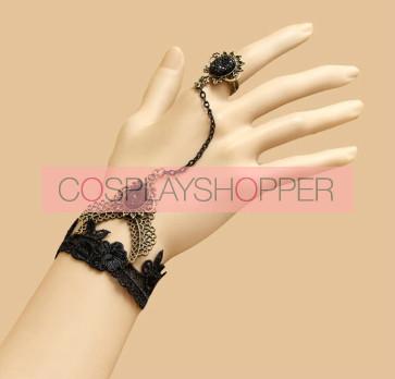 Gothic Black Lace Lolita Bracelet And Ring Set