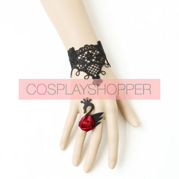 Gothic Black Lace Swan Lolita Bracelet And Ring Set