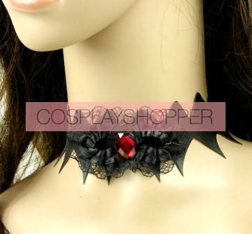 Gothic Black Lether Floral Lolita Necklace