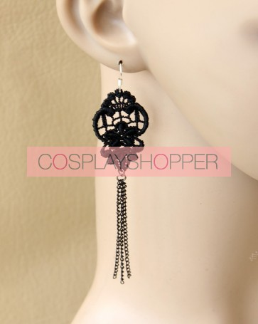 Gothic Black Victorian Lady Lolita Earrings