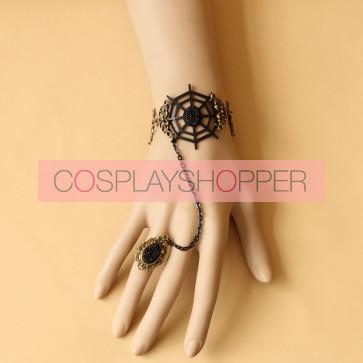 Gothic Devil Cobweb Lolita Bracelet And Ring Set