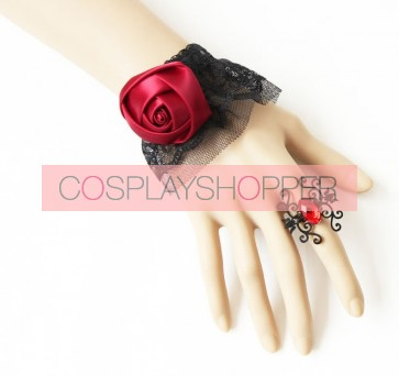 Gothic Exquisite Lace Rose Lolita Bracelet And Ring Set