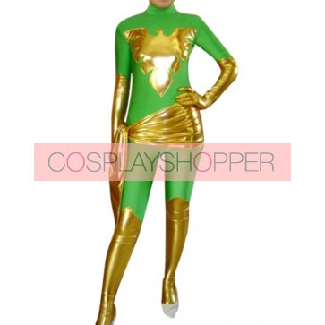 Green And Golden Full Body Shiny Metallic Unisex Zentai Suit