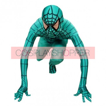 Green & Black Lycra Spandex Spiderman Zentai Suit