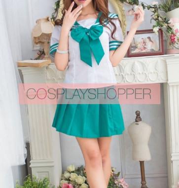 Green Cute Short Sleeves Girl School Uniform Cosplay Costume