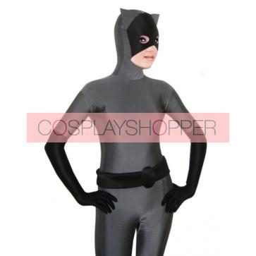 Grey Catwoman Lycra Spandex Zentai Suit
