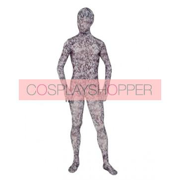Grey Full Body Lycra Spandex Camouflage Unisex Zentai Suit