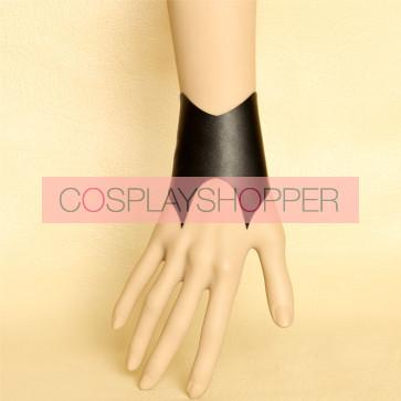 Handmade Black Concice Leather Lolita Wrist Strap