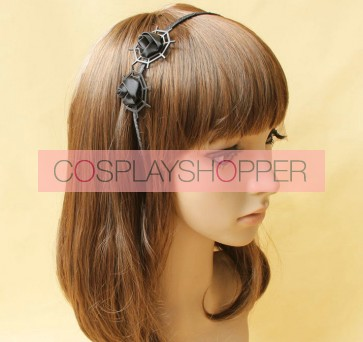 Handmade Black Gothic Rose Lolita Headband