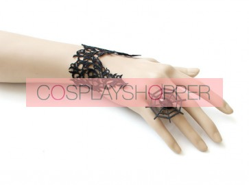 Handmade Black Lace Cobweb Laday Lolita Bracelet And Ring Set