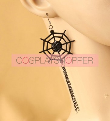 Handmade Retro Black Cobweb Lolita Earrings
