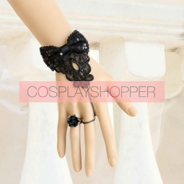 Handmade Rococo Black Bow Lolita Bracelet And Ring Set
