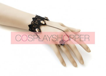 Handmade Romantic Gothic Black Lady Lolita Bracelet And Ring Set