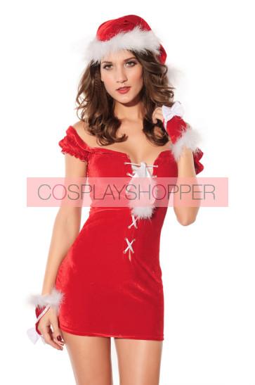 Hot and Skinny Velvet Lady Christmas Dress