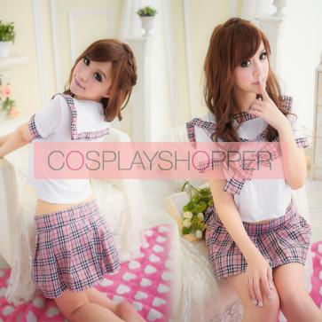 Hot Plaid Pattern Short Sleeves Bow School Girl School Uniform