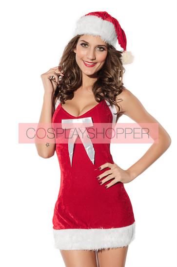 Hot Velvet Backless Bow Girls Christmas Dress