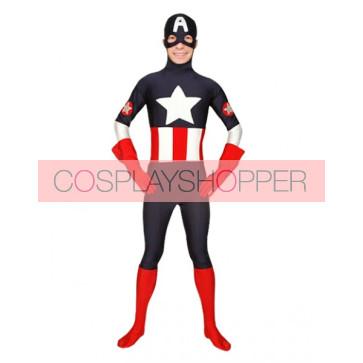 Indigo & Red Lycra Spandex Superhero Zentai Suit