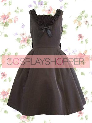Black Sleeveless Pintuck Bow Classic Lolita Dress